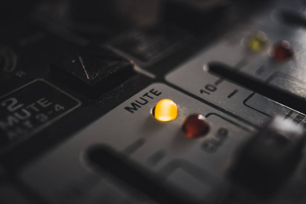 a mute button is lit up